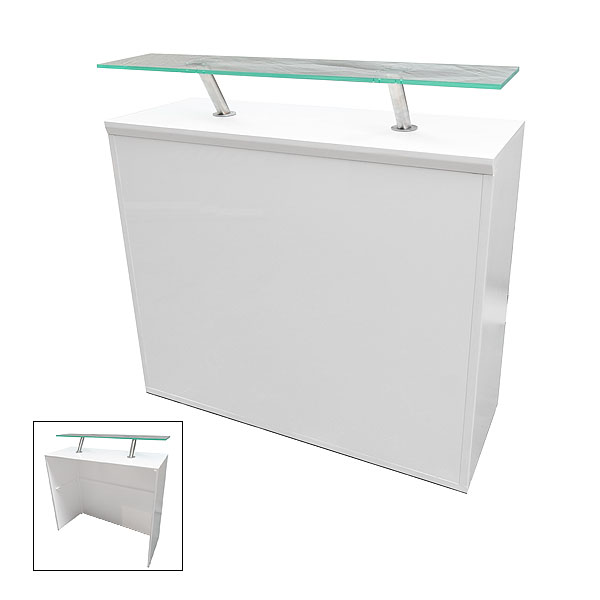 Modular White Reception Desk 450 With Perspex Shelf