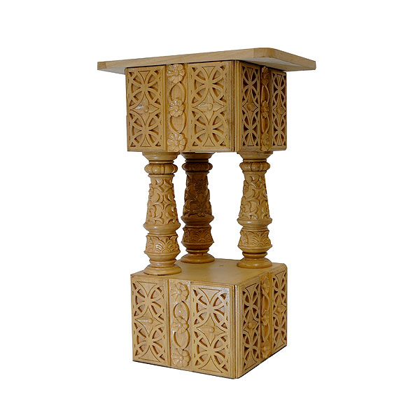 Ornate Hand Carved Wooden Pedestal